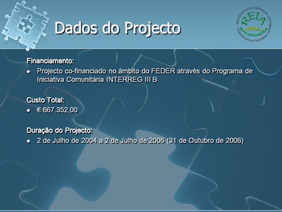 Dados do Projecto Financiamento:  Projecto co-financiado no âmbito do FEDER através do Programa de Iniciativa Comunitária INTERREG III B Custo Total:  € 667.352,00 Duração do Projecto:  2 de Julho de 2004 a 2 de Julho de 2006 (31 de Outubro de 2006)Financiamento:  Projecto co-financiado no âmbito do FEDER através do Programa de Iniciativa Comunitária INTERREG III B Custo Total:  € 667.352,00 Duração do Projecto:  2 de Julho de 2004 a 2 de Julho de 2006 (31 de Outubro de 2006)