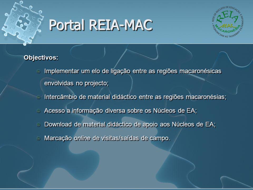 Portal REIA-MAC Objectivos: Implementar um elo de ligação entre as regiões macaronésicas envolvidas no projecto; Intercâmbio de material didáctico ent