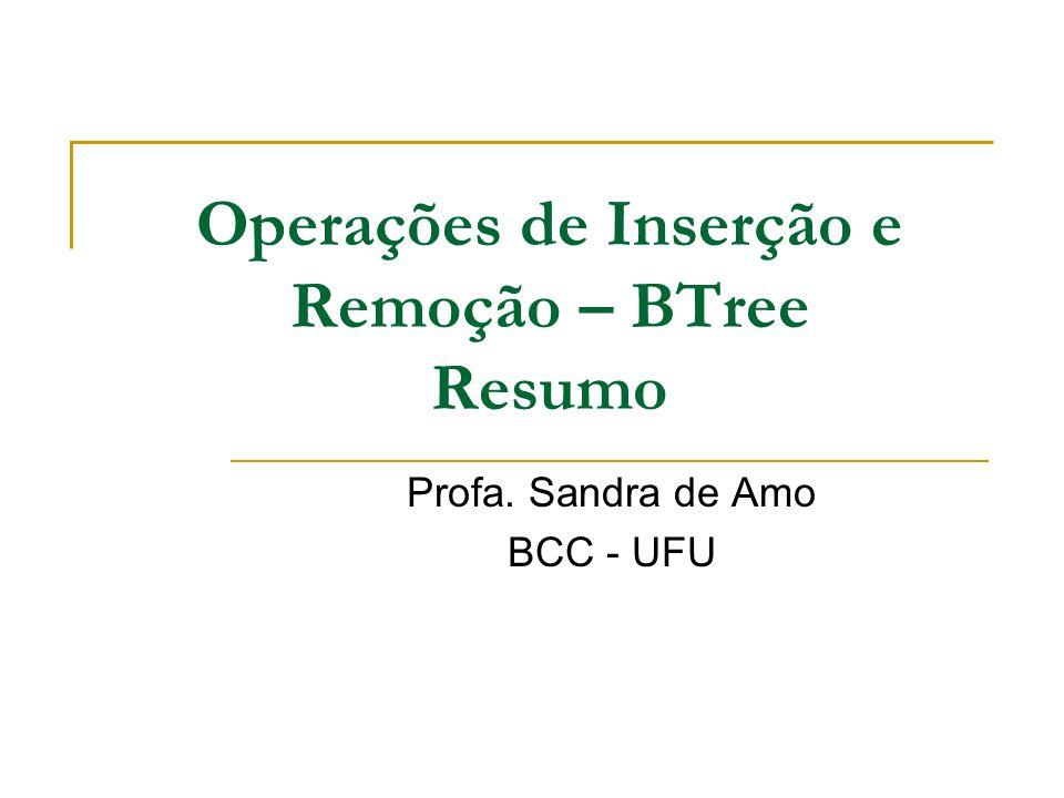 Operações de Inserção e Remoção – BTree Resumo Profa. Sandra de Amo BCC - UFU