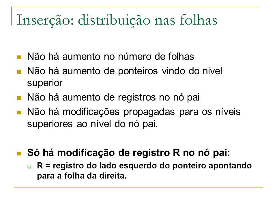 Inserção: distribuição nas folhas  Não há aumento no número de folhas  Não há aumento de ponteiros vindo do nivel superior  Não há aumento de regis