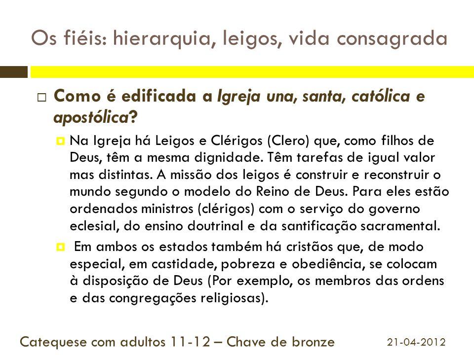 Os fiéis: hierarquia, leigos, vida consagrada  Como é edificada a Igreja una, santa, católica e apostólica?  Na Igreja há Leigos e Clérigos (Clero)