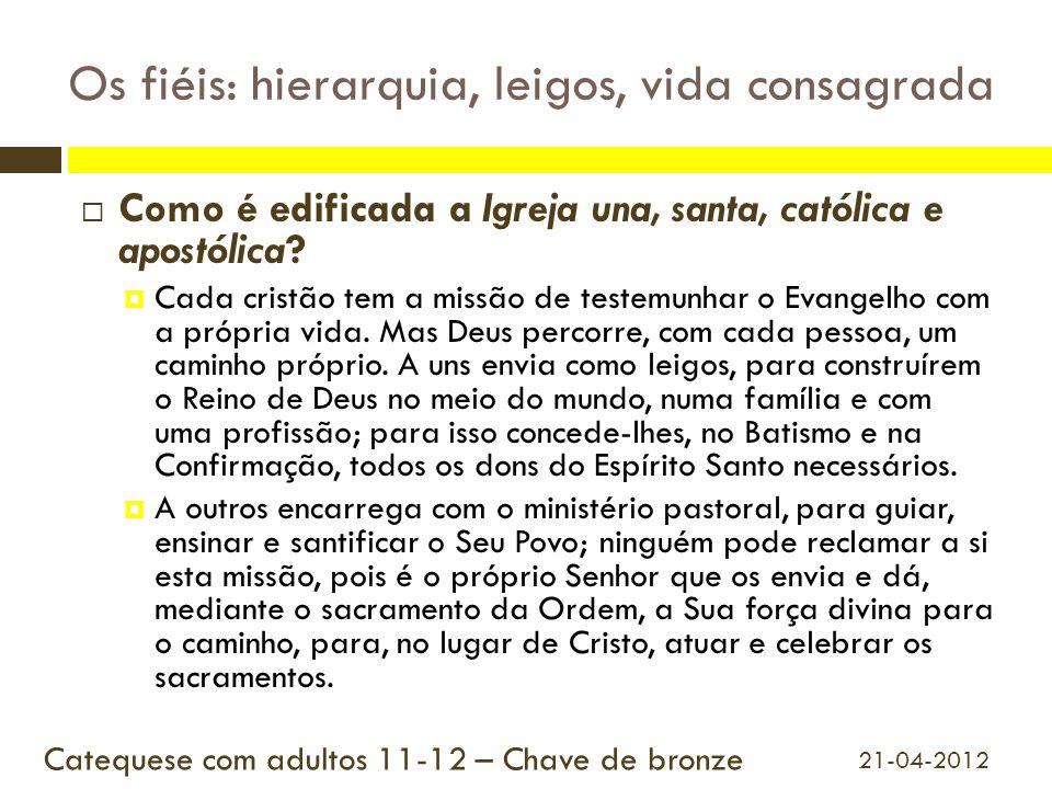 Os fiéis: hierarquia, leigos, vida consagrada  Como é edificada a Igreja una, santa, católica e apostólica?  Cada cristão tem a missão de testemunha
