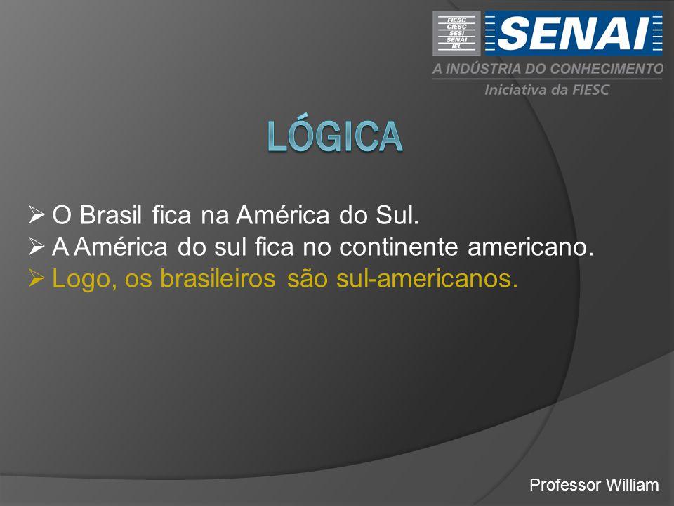 Professor William  O Brasil fica na América do Sul.  A América do sul fica no continente americano.  Logo, os brasileiros são sul-americanos.