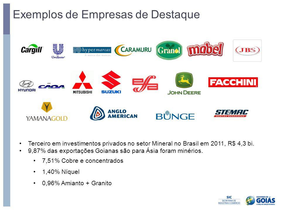 Exemplos de Empresas de Destaque •Terceiro em investimentos privados no setor Mineral no Brasil em 2011, R$ 4,3 bi. •9,87% das exportações Goianas são