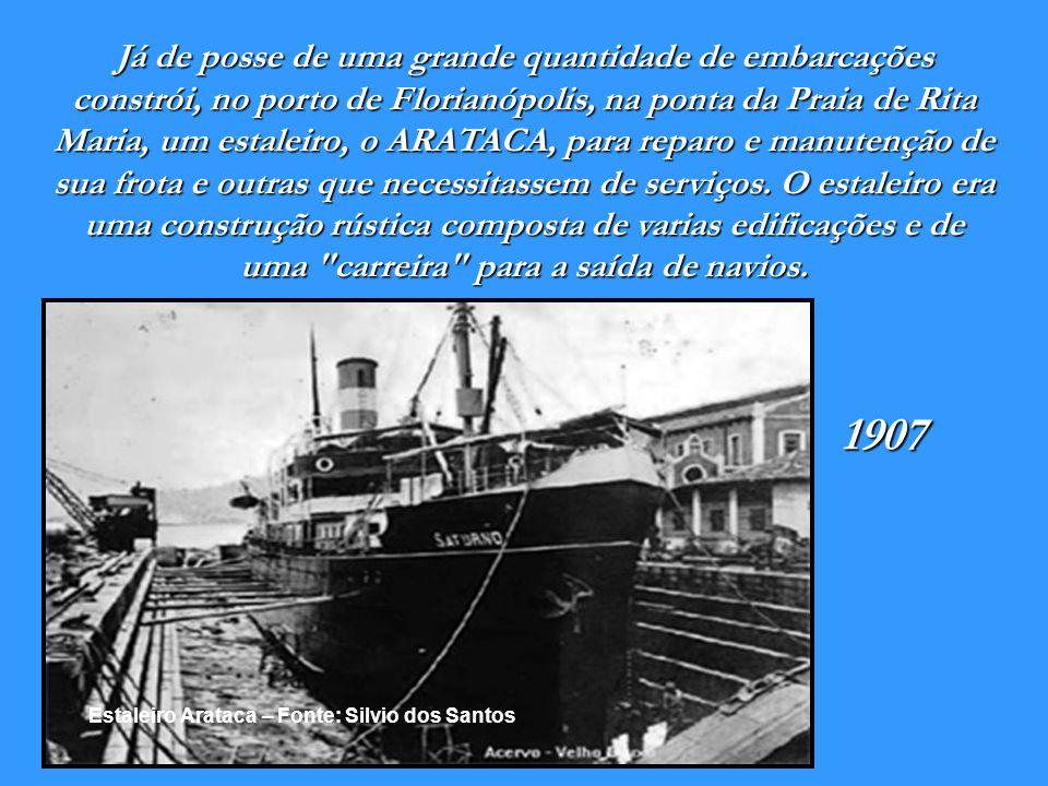 Trapiche da Empresa Nacional de Navegação Hoepcke - 1906 Fonte: Silvio dos santos A Empresa Nacional de Navegação Hoepcke tinha o Porto de Florianópol