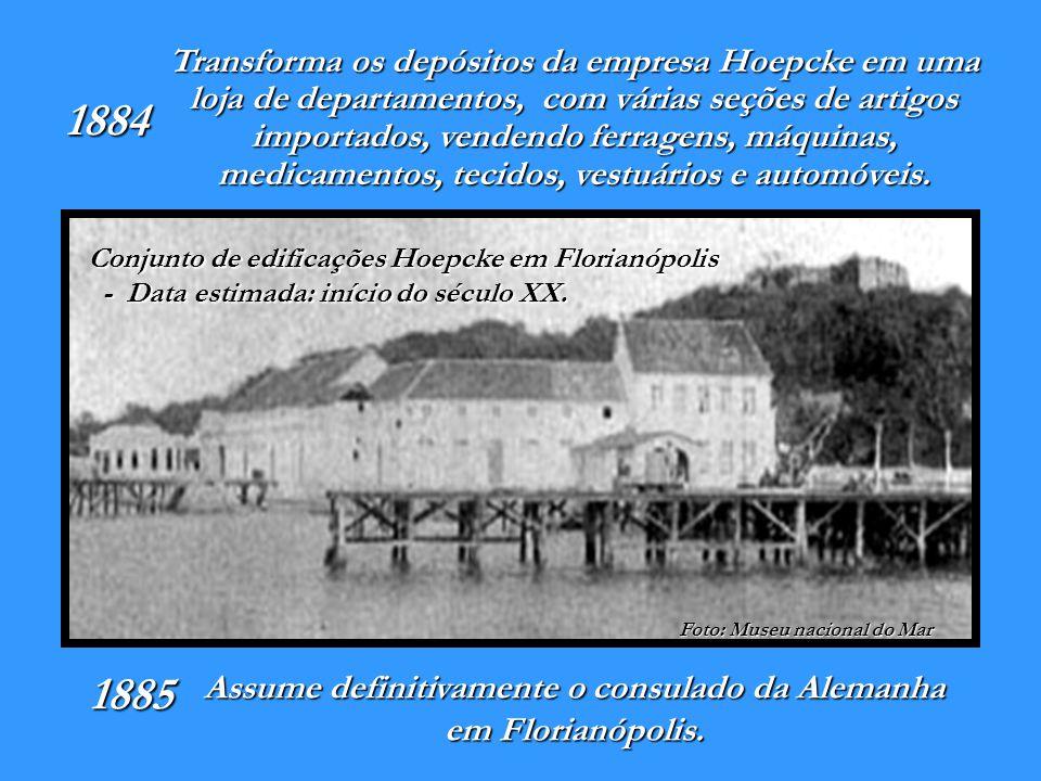 1913 A Fábrica de Rendas e Bordados Hoepcke foi criada por Carl Hoepcke e Ricardo Ebel, em Florianópolis nos altos da Rua Felipe Schmidt.