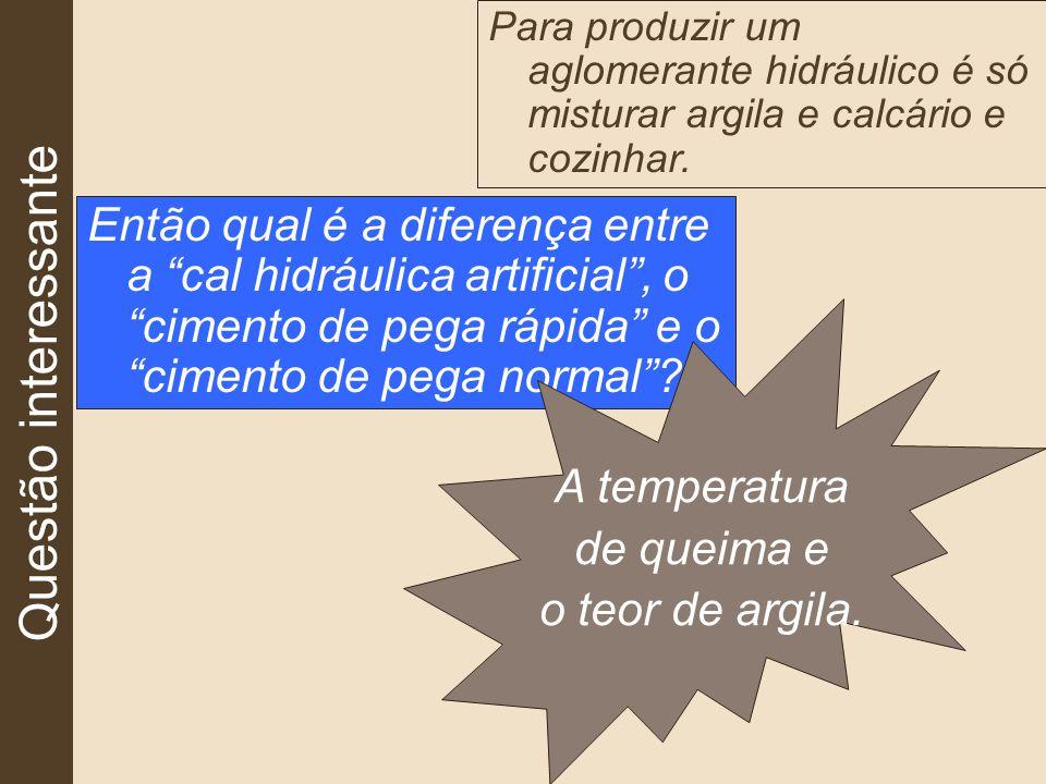 Questão interessante Para produzir um aglomerante hidráulico é só misturar argila e calcário e cozinhar.