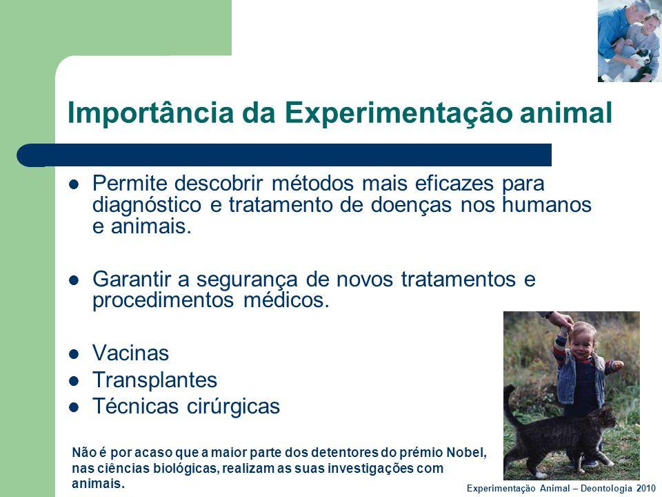 Importância da Experimentação animal  Permite descobrir métodos mais eficazes para diagnóstico e tratamento de doenças nos humanos e animais.  Garan