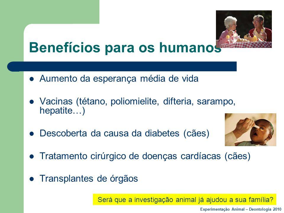 Benefícios para os humanos  Aumento da esperança média de vida  Vacinas (tétano, poliomielite, difteria, sarampo, hepatite…)  Descoberta da causa d