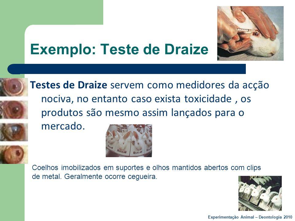 Exemplo: Teste de Draize Testes de Draize servem como medidores da acção nociva, no entanto caso exista toxicidade, os produtos são mesmo assim lançad
