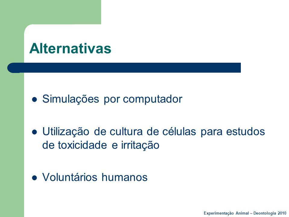 Alternativas  Simulações por computador  Utilização de cultura de células para estudos de toxicidade e irritação  Voluntários humanos Experimentaçã