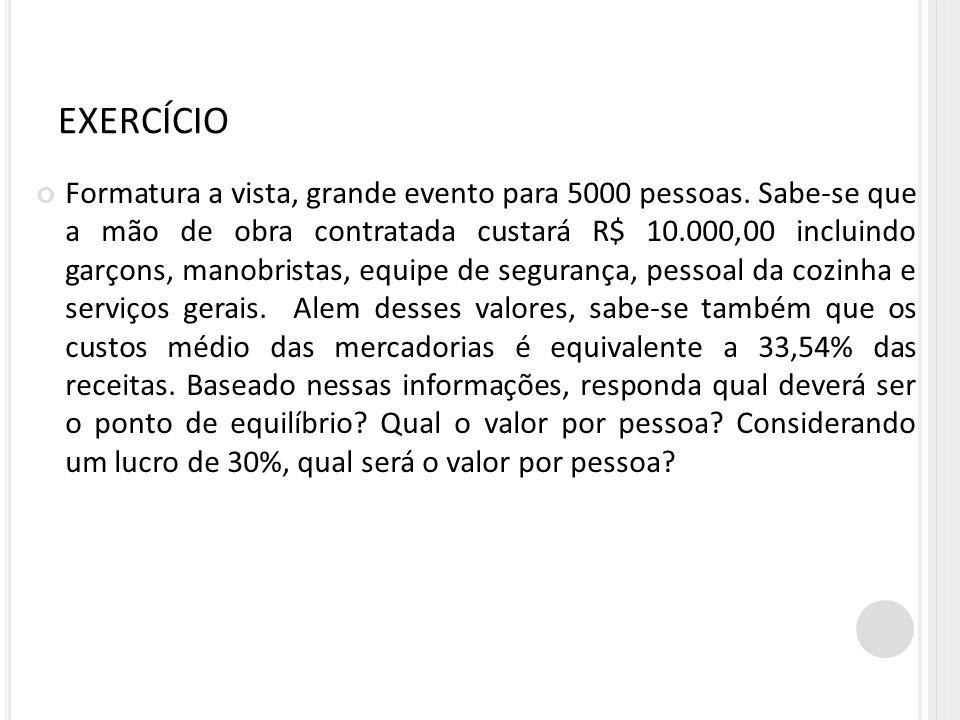 EXERCÍCIO Formatura a vista, grande evento para 5000 pessoas. Sabe-se que a mão de obra contratada custará R$ 10.000,00 incluindo garçons, manobristas