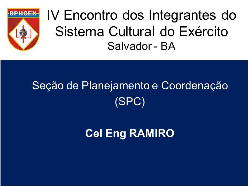 IV Encontro dos Integrantes do Sistema Cultural do Exército Salvador - BA Seção de Planejamento e Coordenação (SPC) Cel Eng RAMIRO