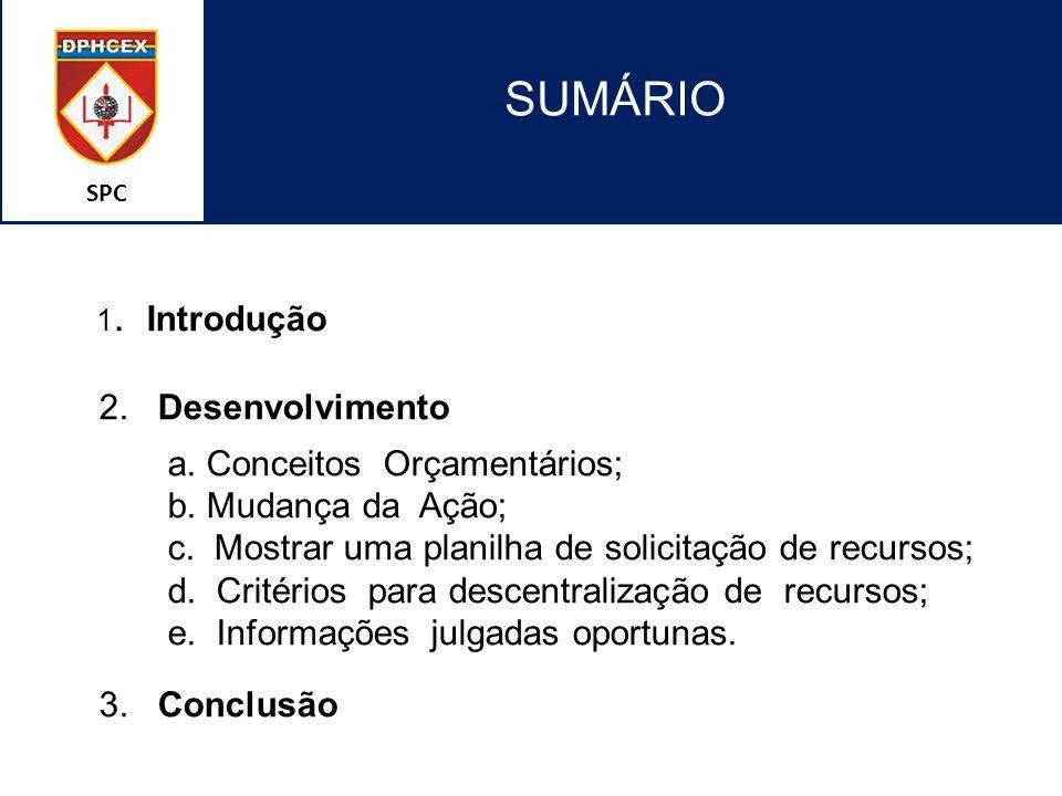 SPC SUMÁRIO 1. Introdução 2. Desenvolvimento a. Conceitos Orçamentários; b. Mudança da Ação; c. Mostrar uma planilha de solicitação de recursos; d. Cr