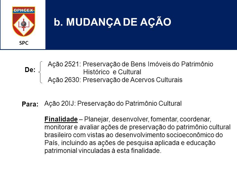SPC b. MUDANÇA DE AÇÃO Ação 2521: Preservação de Bens Imóveis do Patrimônio Histórico e Cultural Ação 2630: Preservação de Acervos Culturais Ação 20IJ