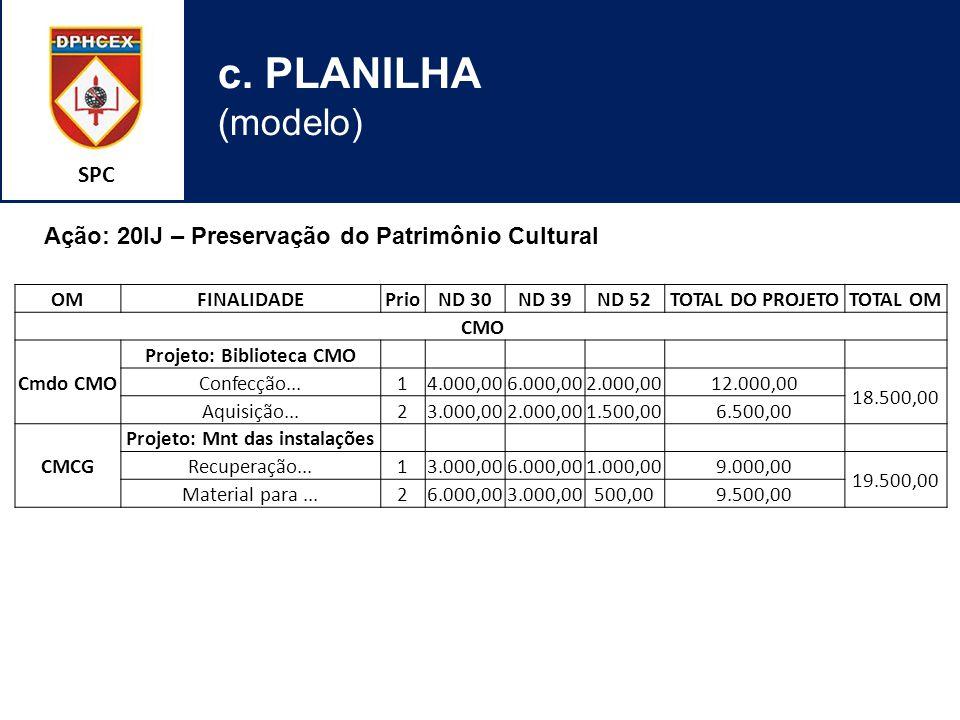 SPC c. PLANILHA (modelo) OMFINALIDADEPrioND 30ND 39ND 52TOTAL DO PROJETOTOTAL OM CMO Cmdo CMO Projeto: Biblioteca CMO Confecção...14.000,006.000,002.0