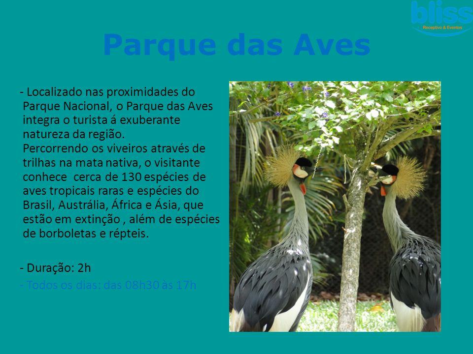 - Localizado nas proximidades do Parque Nacional, o Parque das Aves integra o turista á exuberante natureza da região. Percorrendo os viveiros através