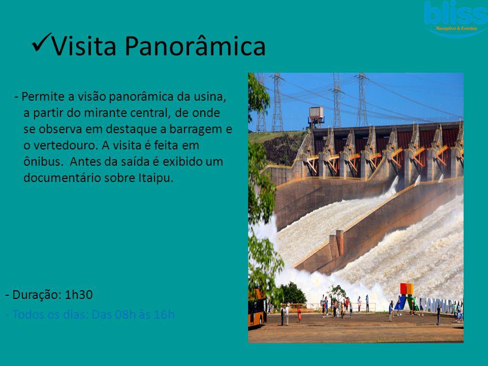 - Permite a visão panorâmica da usina, a partir do mirante central, de onde se observa em destaque a barragem e o vertedouro. A visita é feita em ônib
