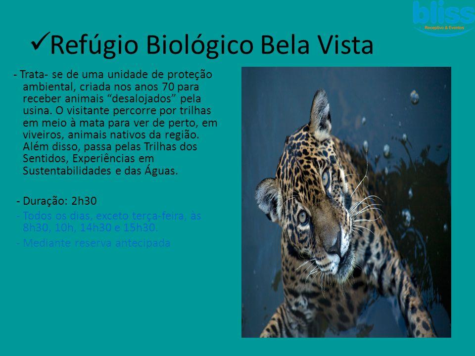""" Refúgio Biológico Bela Vista - Trata- se de uma unidade de proteção ambiental, criada nos anos 70 para receber animais """"desalojados"""" pela usina. O v"""