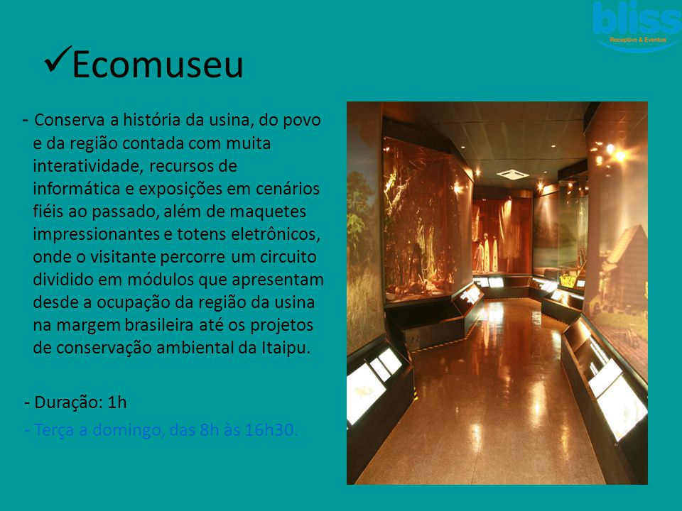  Ecomuseu - Conserva a história da usina, do povo e da região contada com muita interatividade, recursos de informática e exposições em cenários fiéi