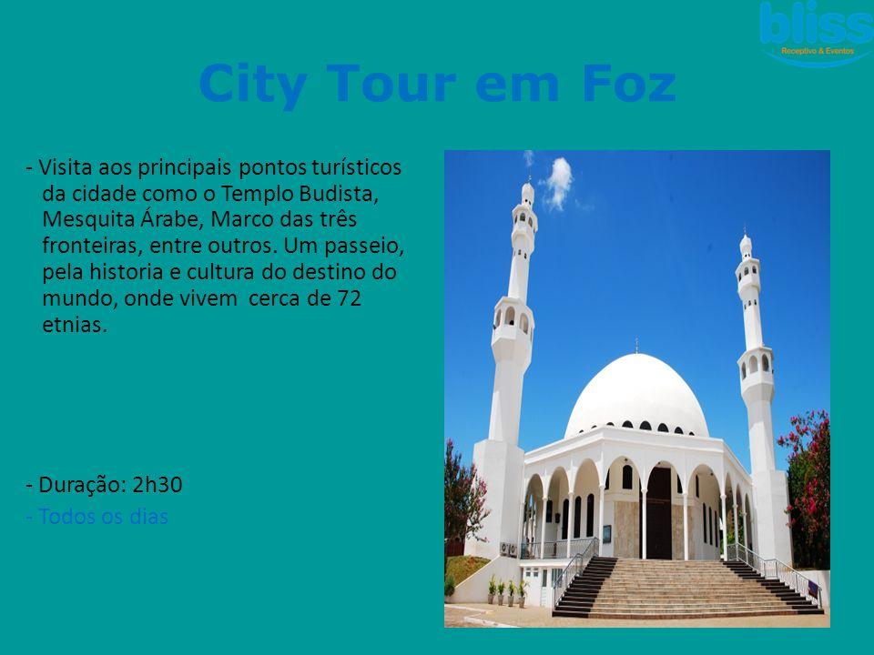 City Tour em Foz - Visita aos principais pontos turísticos da cidade como o Templo Budista, Mesquita Árabe, Marco das três fronteiras, entre outros. U
