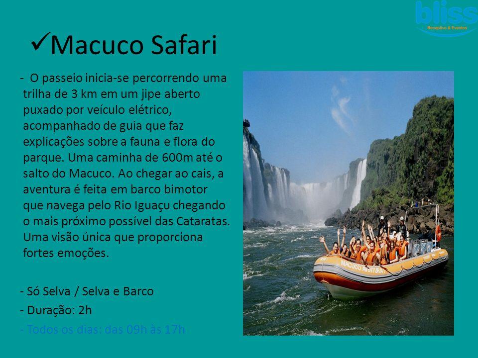  Cânion Iguaçu -Rafting: - Duração: 2h - Percurso: 4 km (2 km de corredeiras de nível médio (classe III +) e 2 km de águas calmas - Idade mínima:14 anos (14 a 17 autorização) -Rapel: - Duração: 35min - Percurso: 55 m de altura - Idade mínima: 07 anos