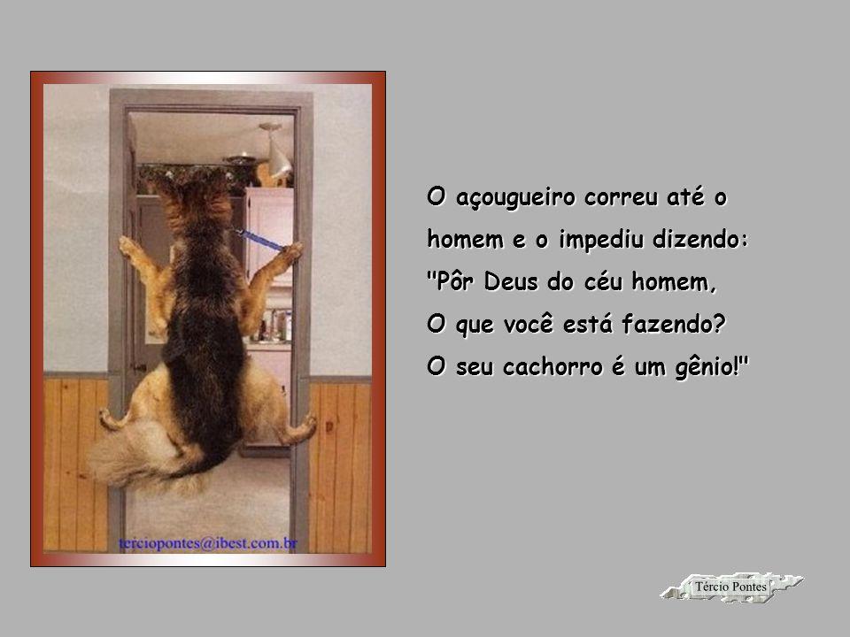 Depois disso, caminhou de volta para a porta, e foi quando um cara enorme abriu a porta E começou a bater no cachorro.
