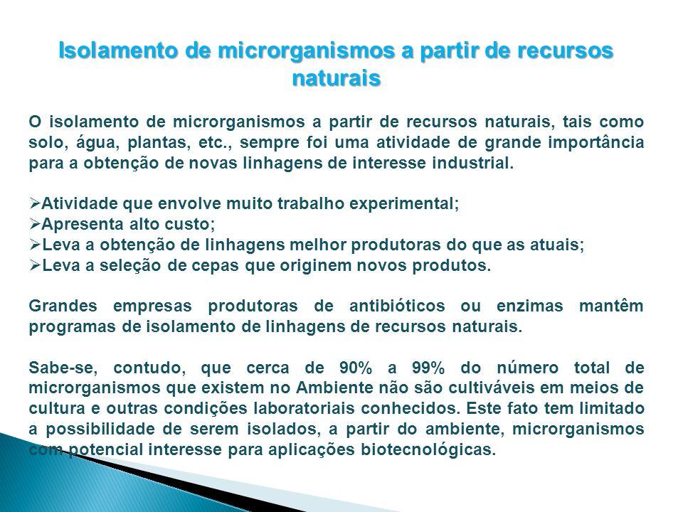 Isolamento de microrganismos a partir de recursos naturais O isolamento de microrganismos a partir de recursos naturais, tais como solo, água, plantas
