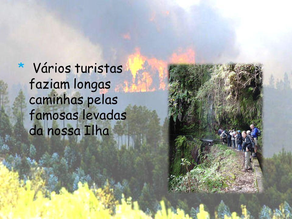 * Vários turistas faziam longas caminhas pelas famosas levadas da nossa Ilha