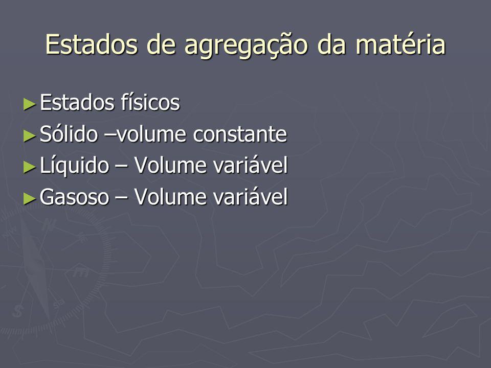 Estados de agregação da matéria ► Estados físicos ► Sólido –volume constante ► Líquido – Volume variável ► Gasoso – Volume variável