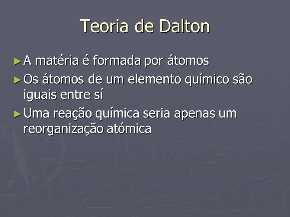 Teoria de Dalton ► A matéria é formada por átomos ► Os átomos de um elemento químico são iguais entre sí ► Uma reação química seria apenas um reorgani