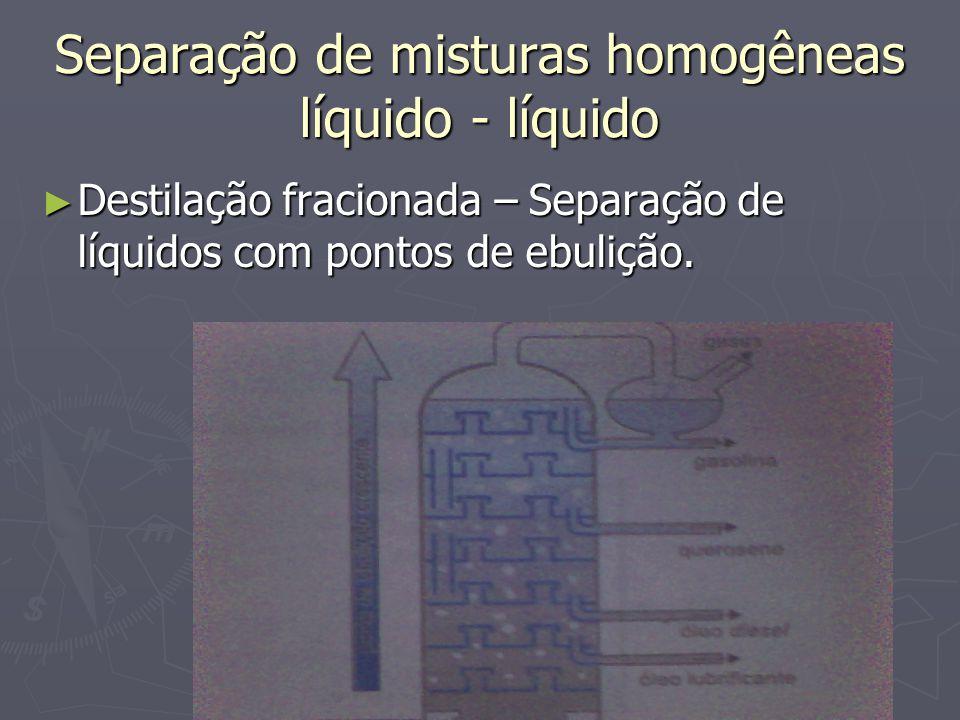 Separação de misturas homogêneas líquido - líquido ► Destilação fracionada – Separação de líquidos com pontos de ebulição.