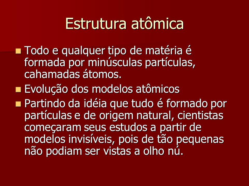 Estrutura atômica  Todo e qualquer tipo de matéria é formada por minúsculas partículas, cahamadas átomos.  Evolução dos modelos atômicos  Partindo