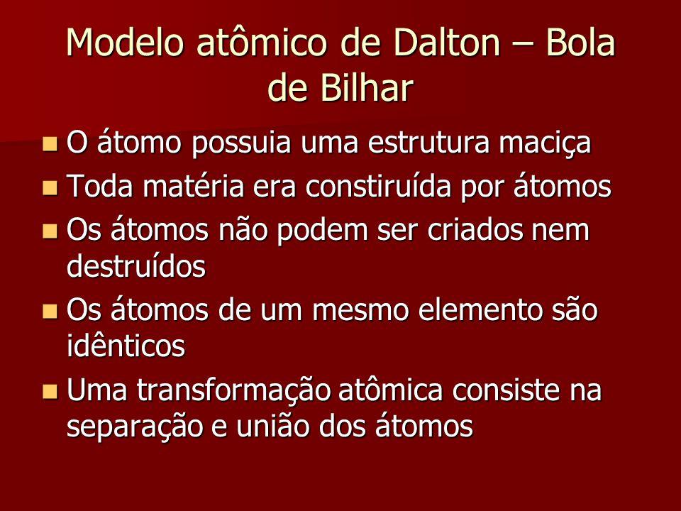 Modelo atômico de Dalton – Bola de Bilhar  O átomo possuia uma estrutura maciça  Toda matéria era constiruída por átomos  Os átomos não podem ser c