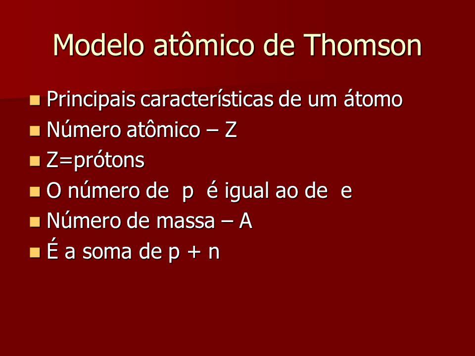 Modelo atômico de Thomson  Principais características de um átomo  Número atômico – Z  Z=prótons  O número de p é igual ao de e  Número de massa
