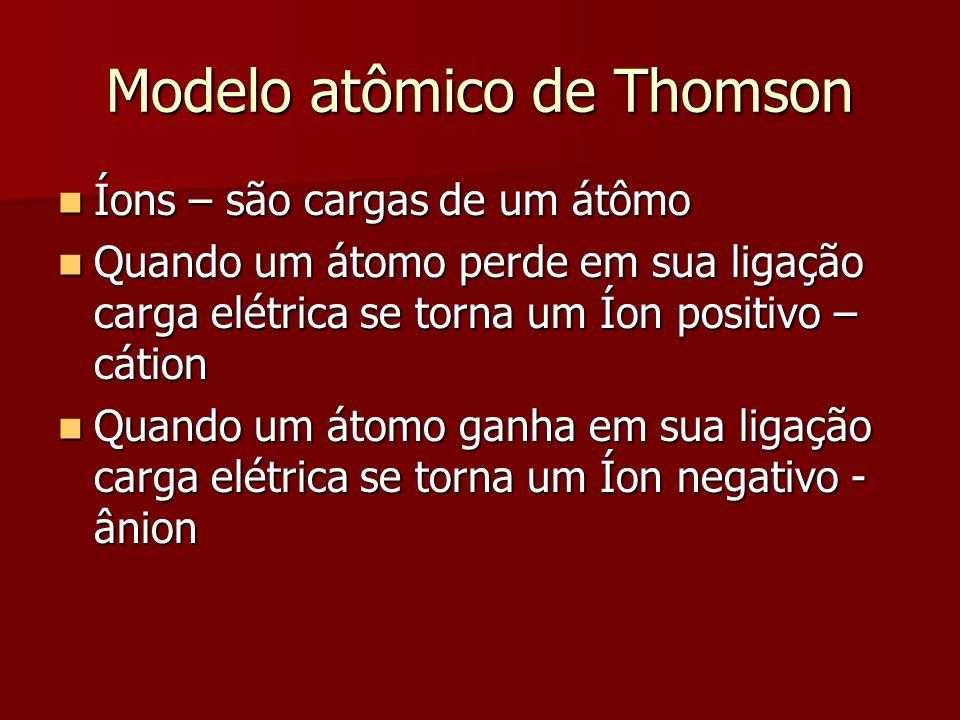 Modelo atômico de Thomson  Íons – são cargas de um átômo  Quando um átomo perde em sua ligação carga elétrica se torna um Íon positivo – cátion  Qu