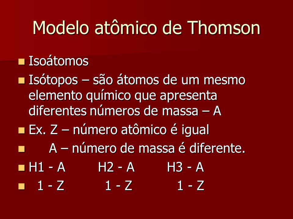 Modelo atômico de Thomson  Isoátomos  Isótopos – são átomos de um mesmo elemento químico que apresenta diferentes números de massa – A  Ex. Z – núm