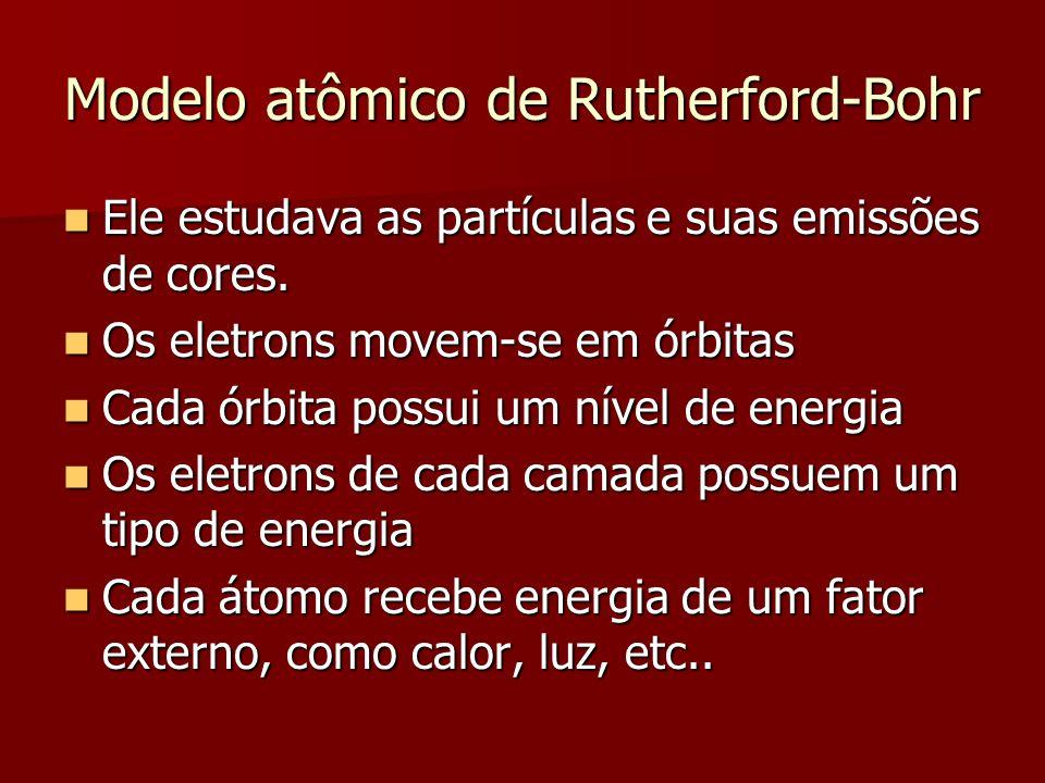 Modelo atômico de Rutherford-Bohr  Ele estudava as partículas e suas emissões de cores.  Os eletrons movem-se em órbitas  Cada órbita possui um nív