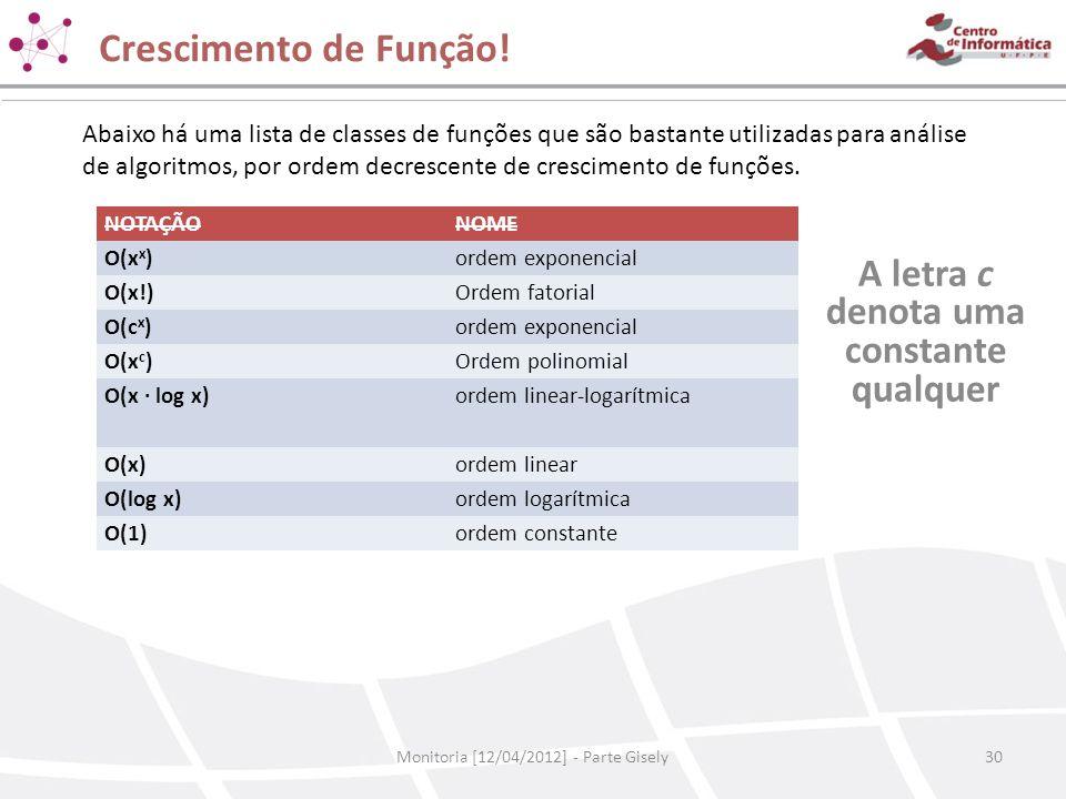 Crescimento de Função! Monitoria [12/04/2012] - Parte Gisely30 A letra c denota uma constante qualquer NOTAÇÃONOME O(x x )ordem exponencial O(x!)Ordem