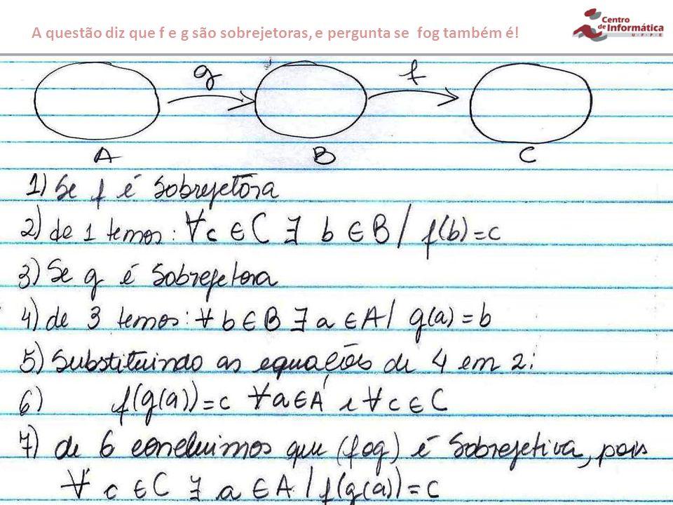 A questão diz que f e g são sobrejetoras, e pergunta se fog também é!
