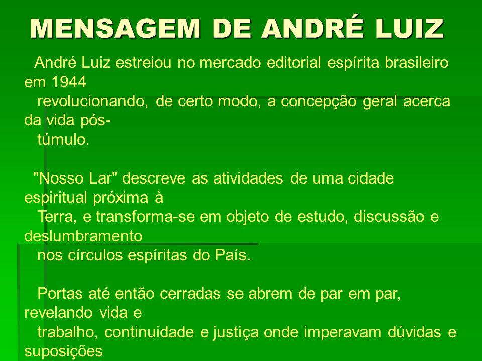 MENSAGEM DE ANDRÉ LUIZ André Luiz estreiou no mercado editorial espírita brasileiro em 1944 revolucionando, de certo modo, a concepção geral acerca da vida pós- túmulo.