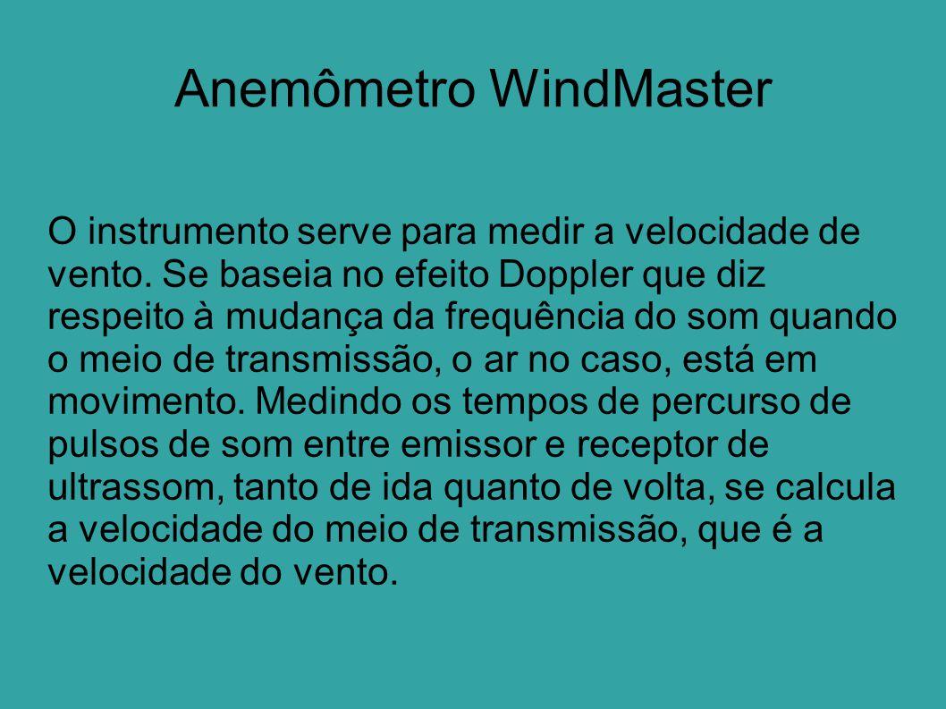 Anemômetro WindMaster O instrumento serve para medir a velocidade de vento. Se baseia no efeito Doppler que diz respeito à mudança da frequência do so