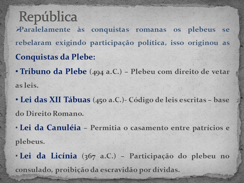 • Lei Hortênsia (287 a.C.)- O Plebiscito passava a ter força de lei.
