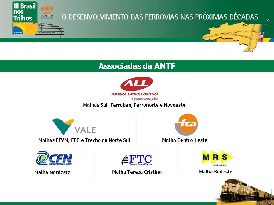 Associadas da ANTF Malhas Sul, Ferroban, Ferronorte e Novoeste Malha Nordeste Malha Sudeste Malha Tereza Cristina Malha Centro-Leste Malhas EFVM, EFC e Trecho da Norte Sul
