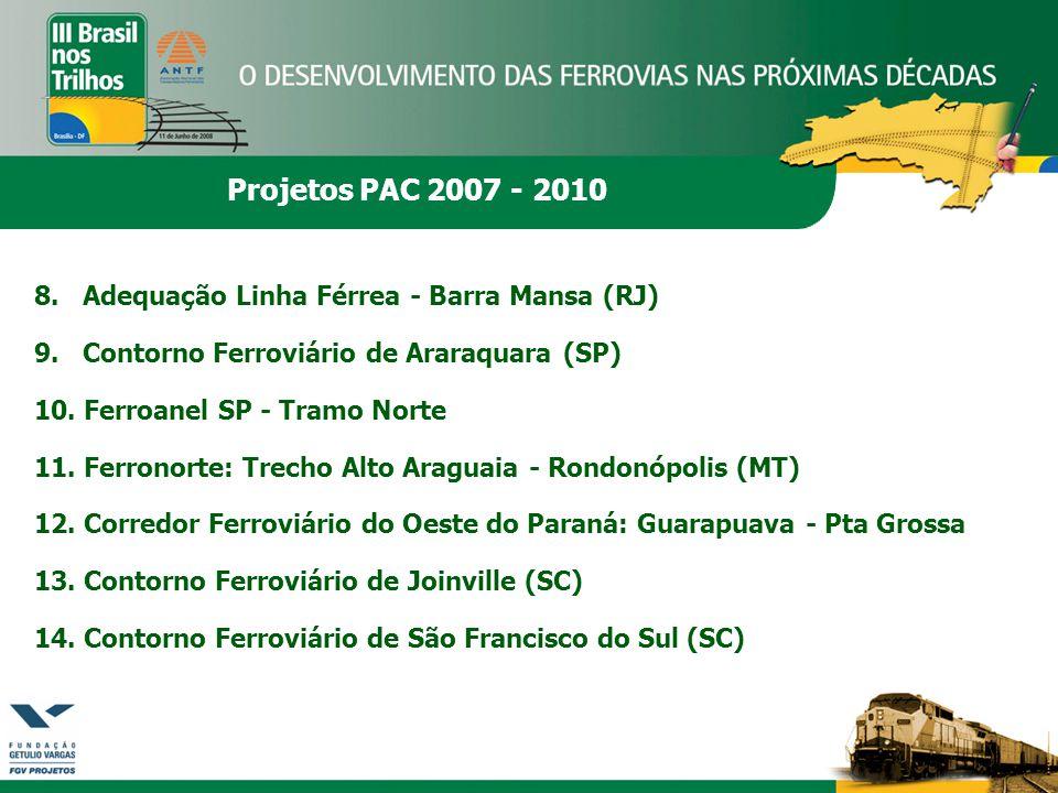 Projetos PAC 2007 - 2010 8. Adequação Linha Férrea - Barra Mansa (RJ) 9. Contorno Ferroviário de Araraquara (SP) 10. Ferroanel SP - Tramo Norte 11. Fe