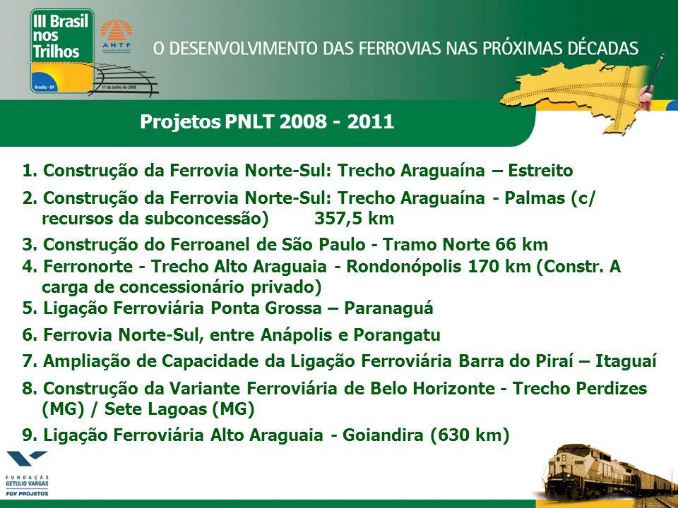 Projetos PNLT 2008 - 2011 1. Construção da Ferrovia Norte-Sul: Trecho Araguaína – Estreito 2. Construção da Ferrovia Norte-Sul: Trecho Araguaína - Pal