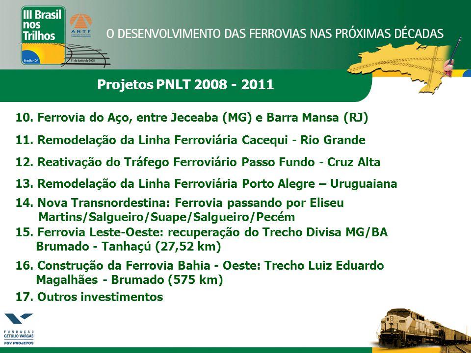 Projetos PNLT 2008 - 2011 10. Ferrovia do Aço, entre Jeceaba (MG) e Barra Mansa (RJ) 11. Remodelação da Linha Ferroviária Cacequi - Rio Grande 12. Rea