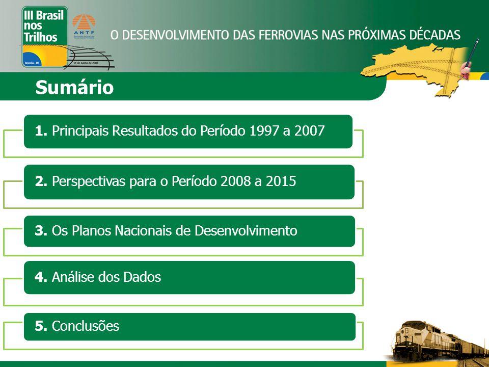 Sumário 1. Principais Resultados do Período 1997 a 2007 2. Perspectivas para o Período 2008 a 2015 3. Os Planos Nacionais de Desenvolvimento 4. Anális