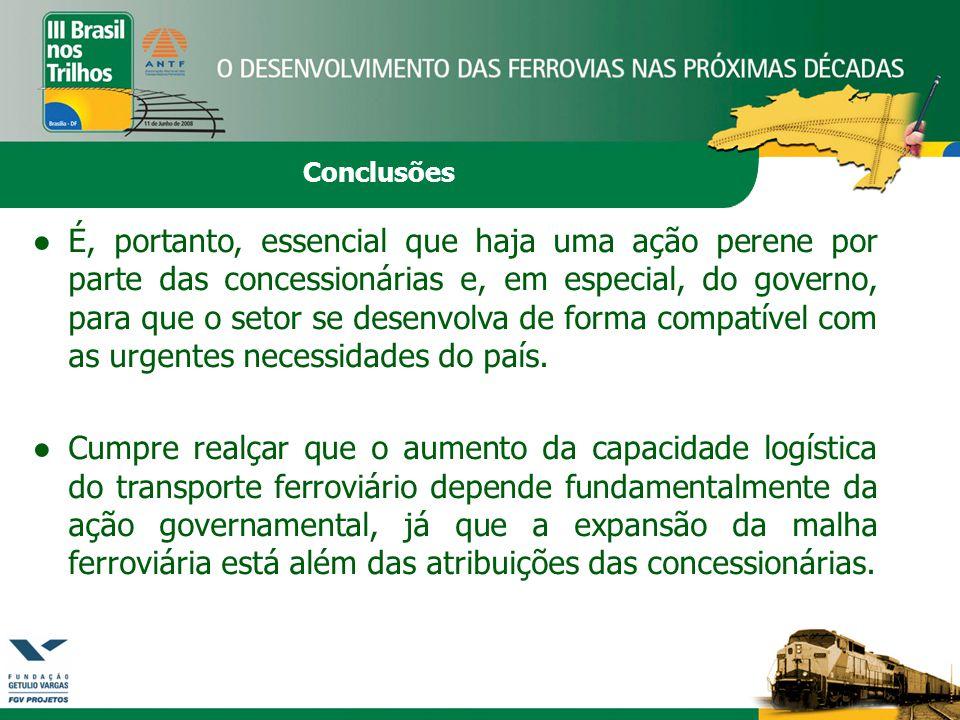 Conclusões ●É, portanto, essencial que haja uma ação perene por parte das concessionárias e, em especial, do governo, para que o setor se desenvolva de forma compatível com as urgentes necessidades do país.