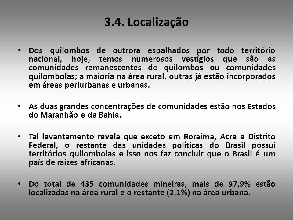 3.4. Localização • Dos quilombos de outrora espalhados por todo território nacional, hoje, temos numerosos vestígios que são as comunidades remanescen